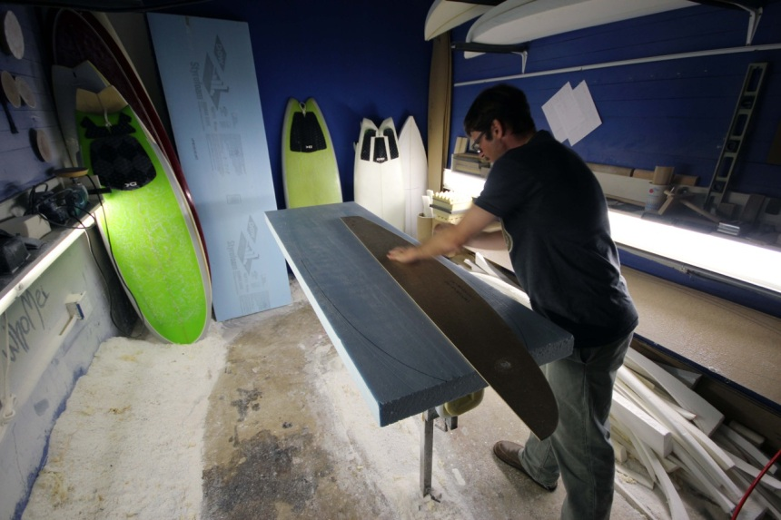 Jeff Scardine 5 feet of fury displacement sled surfboard in DEEP Magazine