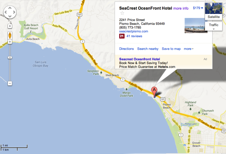 Directions to Sea Crest Oceanfront Hotel in Pismo Beach, CA
