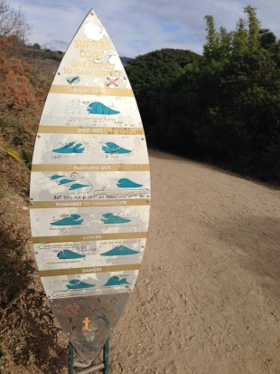 Crowded lineups like Rincon in California have signs like this on the way to the beach. Photo: Pfost