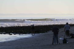 A crowded lineup at Rincon, both in the water and on the beach. Photo: Pfost